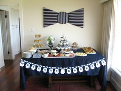 Bow Tie Shower Themes | Made An Upholstered Bow Tie For Above The Food ·  Bow Tie ThemeBow Tie PartyBoy Baby ...