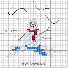 Cross Stitch Snowman in the Snow