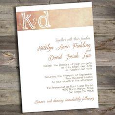 Vintage Wedding Invitation - DIY Printable Coral Grunge Invitation - Styled for Paper - Custom Wedding Invitation www.etsy.com/shop/styledforpaper