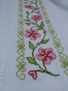 The most beautiful cross-stitch pattern - Knitting, Crochet Love Cross Stitch Borders, Cross Stitch Flowers, Modern Cross Stitch, Cross Stitch Charts, Cross Stitch Designs, Cross Stitching, Cross Stitch Embroidery, Hand Embroidery, Cross Stitch Patterns