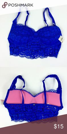 VS PINK Royal Blue Bralette (X-Small) ✨ cute Bralette that has padding and underwire. Medium support to high support. Fits (32A-C)  perfect to take anywhere. Very comfy. ✨ PINK Victoria's Secret Intimates & Sleepwear Bras
