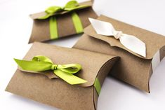 Pillow Boxes, Medium - 10 gift card holders - jewelry packaging - DIY favor box - gift wrap, ribbon tie closure - 4.5 x 2.75 x 1. $12.50, via Etsy.