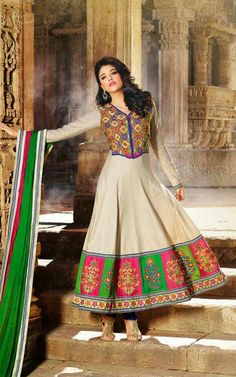 FAWN, BLUE & GREEN COTTON ANARKALI SALWAR KAMEEZ - DIF 29561
