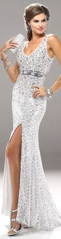 Silver Beaded Gown by Flirt Couture