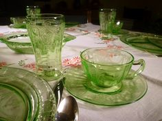 Lighter green Depression glass. O use the greens, especially the deeper ones at Christmas time.