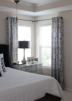 corner curtains just at ends not in center could do this with existing curtains