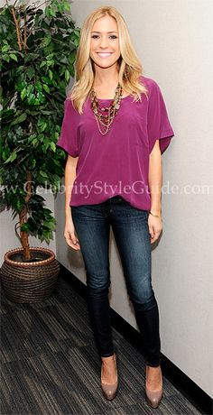 Seen on Celebrity Style Guide: Kristin Cavallari showed off her amazing figure in David Kahn Low Rice Straight Leg Jeans and Joie Edna Silk Pocket Dress on Fox 11 Los Angeles Good Day LA TV show September 23, 2011
