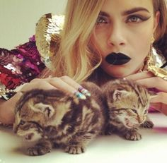Cara Delevingne with a Kitten for a Showstudio shoot with Nick Knight