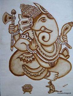 Ganesha coffee art by Archana Latest Bridal Mehndi Designs, Unique Mehndi Designs, Wedding Mehndi Designs, Dulhan Mehndi Designs, Beautiful Mehndi Design, Rangoli Designs, Mehndi Design Pictures, Mehndi Images, Coffee Painting