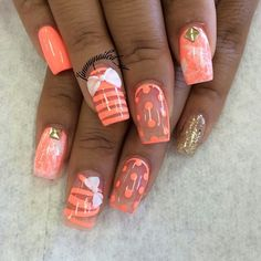 73 Peach Coral Coffin Almond Stiletto Acrylic Nail Design For Short and Long Nails Get Nails, Love Nails, Hair And Nails, Fabulous Nails, Gorgeous Nails, Pretty Nails, Cool Nail Designs, Acrylic Nail Designs, Acrylic Nails