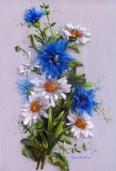 "picture ""Wildflowers"",  Silk ribbon embroidery di SilkRibbonembroidery su Etsy"
