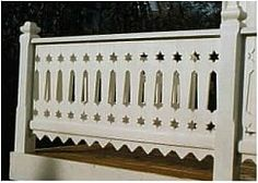 Sveitserhus 1840-1920 Wood Porch Railings, Veranda Railing, Wood Balusters, Victorian Porch, Building A Deck, Home Reno, Vintage Wood, Fences, Stairways