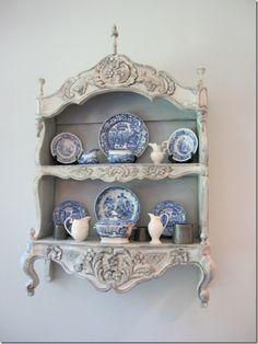 blue willow transferware on an amazing shelf