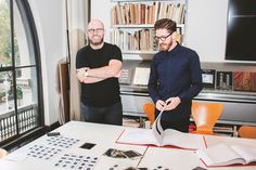 Hamish Smyth and Jesse Reed in the New York City offices of Pentagram design firm. Photograph by James Emmerman.