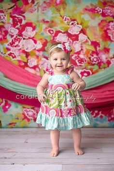Amy's Buttons and Bows ~ The Caralee flutter dress for girls toddlers