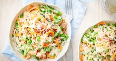 This super quick carbonara dish is packed with vegetables so you don't have to feel too guilty during your next pasta indulgence! Pasta Recipes, Snack Recipes, Cooking Recipes, Savoury Recipes, Healthy Recipes, Noodle Recipes, What's Cooking, Cooking Ideas, Food Ideas