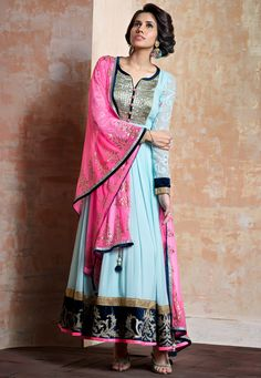 Sky Blue Faux Georgette Readymade Abaya Style Churidar Kameez Online Shopping: KGF4415
