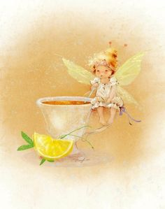 Adorable little fairy by Ekaterina Babok. Dragons, Kobold, Flower Fairies, Fairy Art, Cute Images, Mellow Yellow, Cute Illustration, Faeries, Cute Art