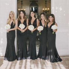 Black Chiffon Bridesmaid Dresses Deep V-Neck Sexy Backless Floor Length Wedding Guest Dresses Mermaid Maid Of Honor Gowns Cheap Bridesmaids Dresses Long Bridesmaid Dresses Wedding Guest Dresses Online with $113.15/Piece on Rosemarybridaldress's Store   DHgate.com