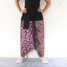 purple paisley harem pants  Indian shawl fabric by meatballtheory