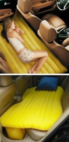 Inflatable Backseat Car Bed. Great for extra room when camping or on long roadtrips! Stop off on your road trip in complete relaxation with the inflatable car travel bed. This inflatable travel bed gives you a convenient sleeping space on the back seat of #carcampingideascoachella #carcampingbed