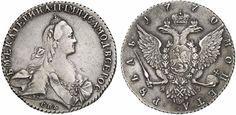 Rouble. Russian Coins, Catherine II. 1762-1796. 1770 over 69, SPB-TI-JaČ over SA. 24,84g. Bit 209. EF. Price realized 2011: 800 USD.