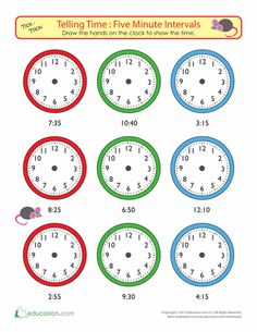 Second Grade Math Worksheets: Telling Time to Five Minutes: Draw the Time Worksheets For Kids, Math Worksheets, Math Resources, Math Activities, Teaching Time, Teaching Math, Math Clock, Learn To Tell Time, Math About Me