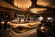 2015 R+D AWARDS Award: Bar Raval Renowned Toronto chef Grant van Gameren and his partners envisioned their pintxos and tapas bar styled in a modern interpretation of Spanish Art Nouveau. Lounge Bar, Restaurant Lounge, Restaurant Design, Ocean Restaurant, Restaurant Interiors, Art Nouveau Design, Deco Design, Wood Design, Design Design