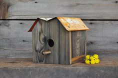 Outdoor Birdhouse Upcycled Reclaimed Wood Bird House Wooden