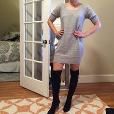 BCBG grey sweater wool/cashmere dress Gently worn(only about 5x).  Runs big(BCBG generally tends to); I'd say fits more of a size 4.  Runs larger especially in the butt area.  (you can kinda see in the reflection in the mirror so I'll assume you saw this if you make an offer).  Warm but not itchy! BCBGMaxAzria Dresses