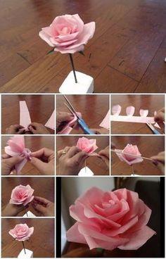 Centro de mesa con rosa de papel tissue - http://xn--manualidadesparacumpleaos-voc.com/centro-de-mesa-con-rosa-de-papel-tissue/