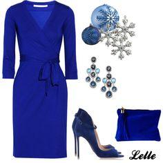 """Diane von Furstenberg New Julian jersey wrap dress"" by lellelelle on Polyvore  Love this blue"
