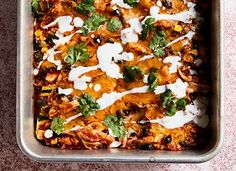 Chilaquiles with Poached Eggs and Spicy Honey Recipe - PureWow Baked Fish Tacos, Zucchini Enchiladas, Halloumi Salad, Spicy Honey, Enchilada Recipes, Recipe Please, Poached Eggs, Cookies Et Biscuits, Mexican Breakfast