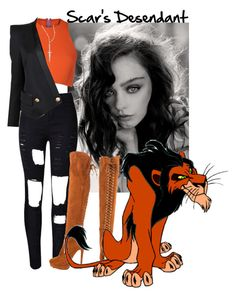 A fashion look from March 2016 featuring burnt orange shirt, double breasted jacket and cutout jeans. Browse and shop related looks. Scar Halloween Costume, Halloween Costumes Online, Hallowen Costume, Halloween Looks, Disney Themed Outfits, Inspired Outfits, Teen Wolf Imagines, Estilo Disney, Witch Outfit