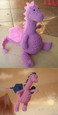 Free knitting pattern for an amigurumi dragon. Free knitting pattern for an amigurumi dragon. Always aspired to discover how to knit, although undecided how to start? Animal Knitting Patterns, Stuffed Animal Patterns, Crochet Patterns, Dress Patterns, Sweater Patterns, Loom Patterns, Stitch Patterns, Loom Knitting, Free Knitting