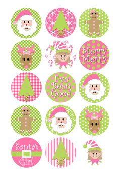 Christmas Bottlecap Images Christmas Bottle Cap Images Christmas Traditions Pink and Green 1 Inch Di Green Christmas, All Things Christmas, Winter Christmas, Christmas Holidays, Christmas Crafts, Xmas, Christmas Ornaments, Preppy Christmas, Christmas Decorations