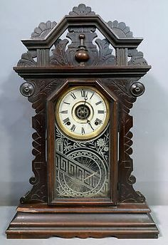 The key and pendulum are present. One small chip to the bottom left edge of the clock. Otherwise lightly soiled and attic fresh. If you have been following Us. We are Out Picking the East Coast Weekly, So you don't have to! Mantle Clock, East Coast, Attic, Clocks, Victorian, Key, Fresh, Antiques, Wood