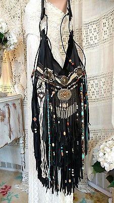 Handmade Black Leather Fringe Shoulder Bag Boho Western Hobo Hippie Purse tmyers