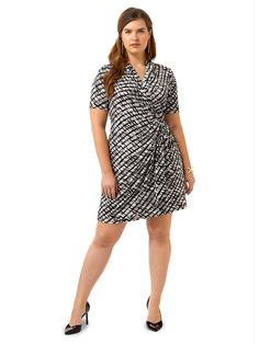 Cascade Print Wrap Dress by @karen_kane  Available in sizes M-XL and 0X-3X