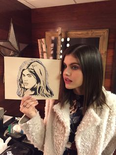 Alexandra Daddario and the artwork by @Abs0lutelyMatt (from Twitter)