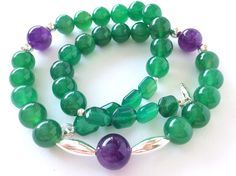 Emerald Green Agate Purple Amethyst and Sterling Silver Gem