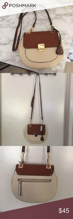 Also Crossbody bag Aldo cross body satchel, brand new never used, light tan, great for the fall Aldo Bags Crossbody Bags