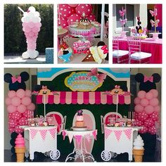 """""""Minnie's Bowtique Icecream Parlor Party for an adorable 1 year old!! LOVED the props by @bambinisoiree especially those Minnie umbrellas on the cart…"""""""