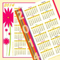 Free printable 2014 calendars in happily colored border design - ausdruckbarer Kalender 2014 - freebie | MeinLilaPark – digital freebies
