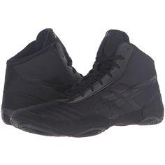 ASICS JB Elite V2.0 (Black/Onyx) Men's Wrestling Shoes ($80) ❤ liked on Polyvore featuring men's fashion, men's shoes, men's sneakers, mens sneakers, mens retro sneakers, mens shoes, mens black sneakers and asics mens shoes