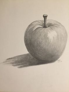 Fruit drawing pencil vegetables 40 New Ideas - Obst Pencil Art Drawings, Art Drawings Sketches, Easy Drawings, Shading Drawing, Pencil Shading, Illustration Au Crayon, Drawing Apple, Fruit Sketch, Fruits Drawing