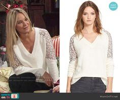 Sharon's white v-neck sweater with lace sleeves on The Young and the Restless.  Outfit Details: http://wornontv.net/54939/ #TheYoungandtheRestless