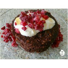Chocolate banana peanut butter oatmeal mugcake for breakfast