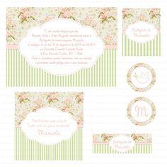 Kit digital para imprimir Floral Verde e Rosè
