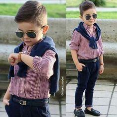 Image in outfit 👛👜👗 collection by Rayan ✿ on We Heart It Young Boys Fashion, Toddler Boy Fashion, Little Boy Fashion, Toddler Boy Outfits, Children Outfits, Toddler Boy Haircuts, Baby Boy Dress, Outfits Niños, Little Boy Outfits